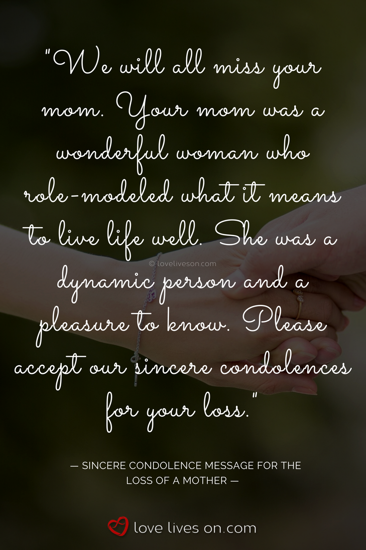 Loss Mother Quotes Sympathy Beautiful