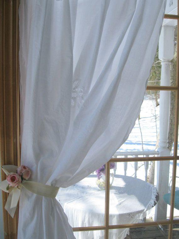Battenburg Lace Curtain Shower Cotton By Mailordervintage 2610