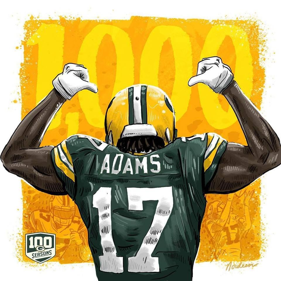 Davante Adams Goes Over The 1 000 Yard Mark For The First Time In His Career Gopackgo Green Bay Packers Players Green Bay Packers Art Green Bay Packers
