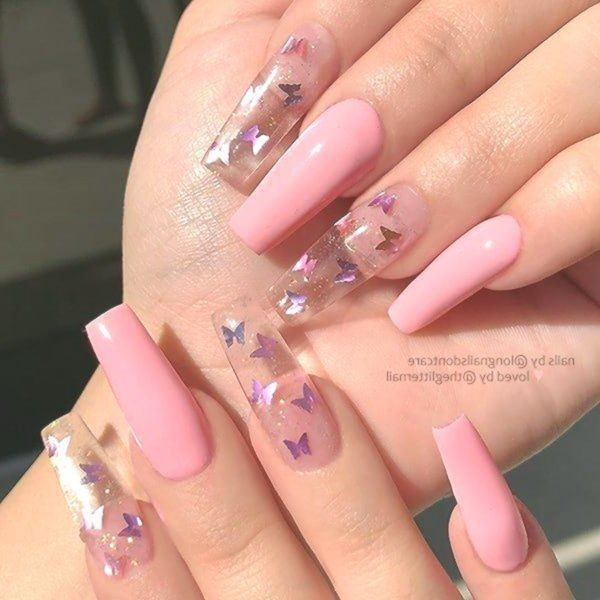 Long Pink Nails With Butterflies In 2020 Best Acrylic Nails Pink Acrylic Nails Summer Acrylic Nails