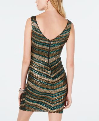 e6465c7db8 As U Wish Juniors  Chevron Sequin Bodycon Dress - Gold Green 0 in ...
