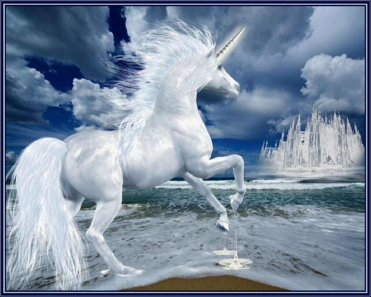 1280x1024 Wallpaper Unicorn Lock Phantom Ice Unicorns