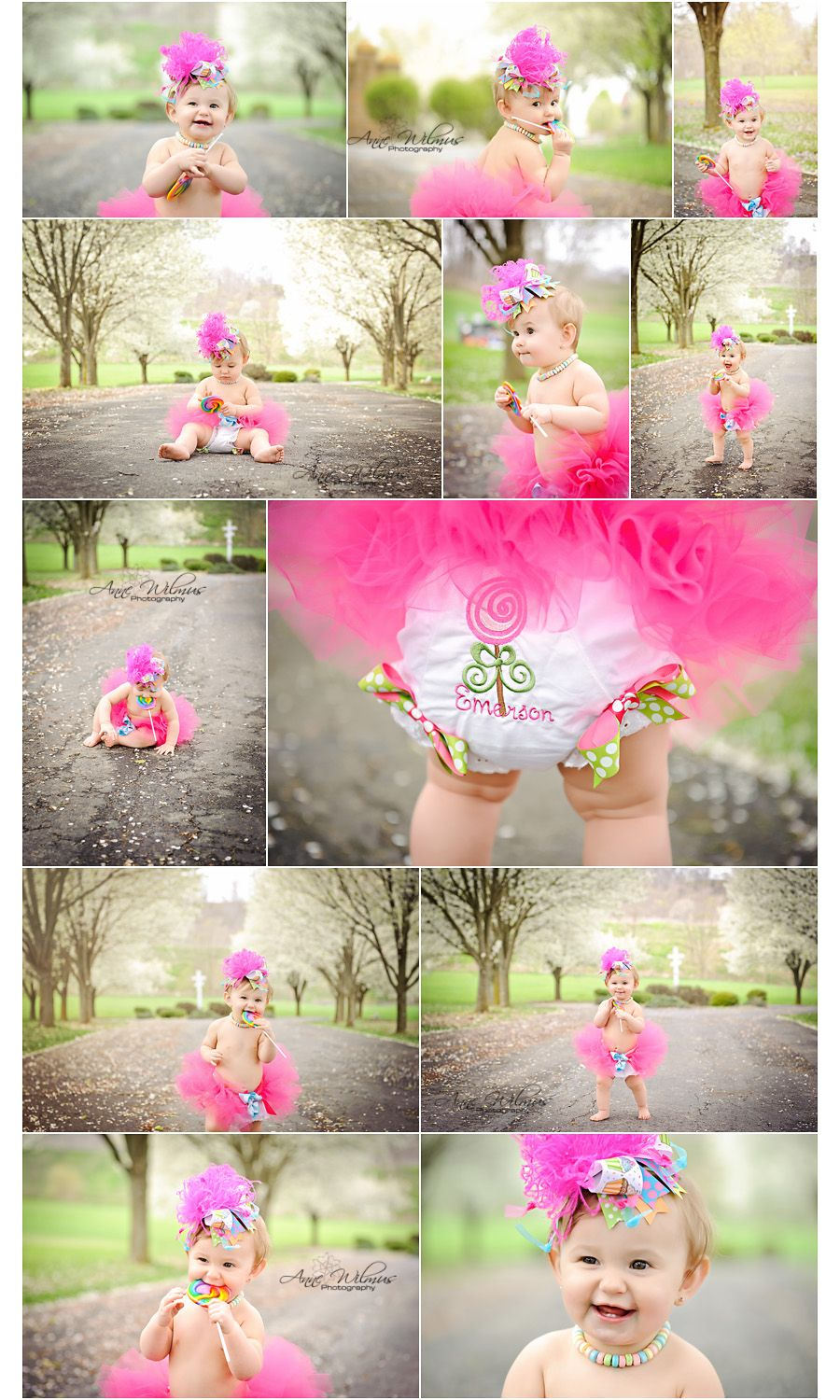 First birthday photo shoot place. Love her candy necklace