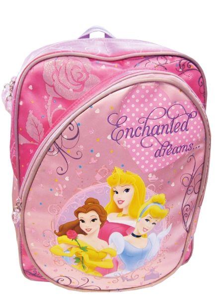 Tämä Prinsessat-reppu selässä koulumatka on kuin ruusuilla tanssimista. Sisällä vetoketjutasku. Edessä iso vetoketjullinen tasku. Olkahihnoissa ja selkäosassa pehmusteet. Vetoketjuissa sydänvetimet. Koko: kork. 39 cm x lev. 30 cm x syv. 13 cm.