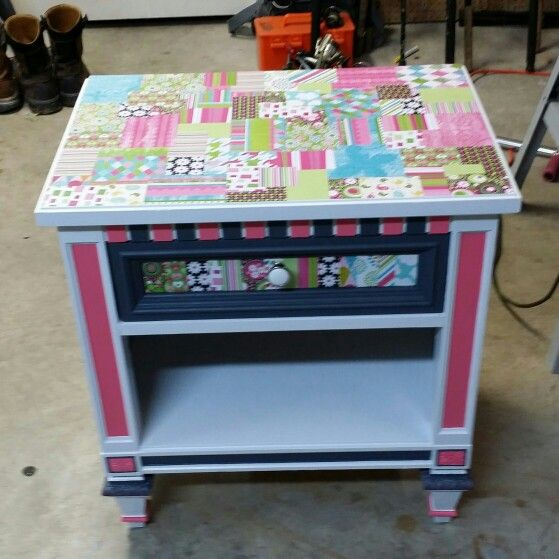 Made this nite stand for my daughter paint and mod podge.. So cute $15 thrift store find. Easy to do old  Furniture refurbished.