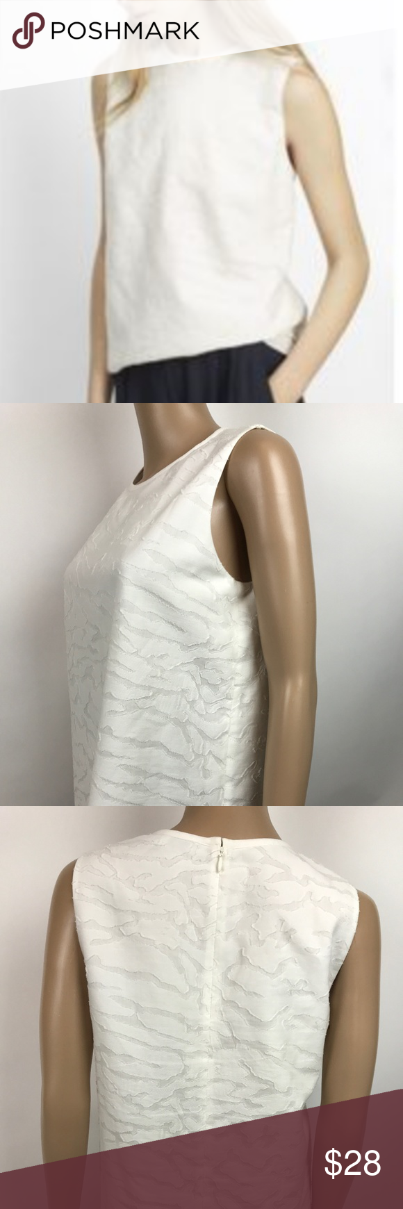 689018967c4177 Textured White silk blend tank top blouse VINCE. women s size small white  2-layer