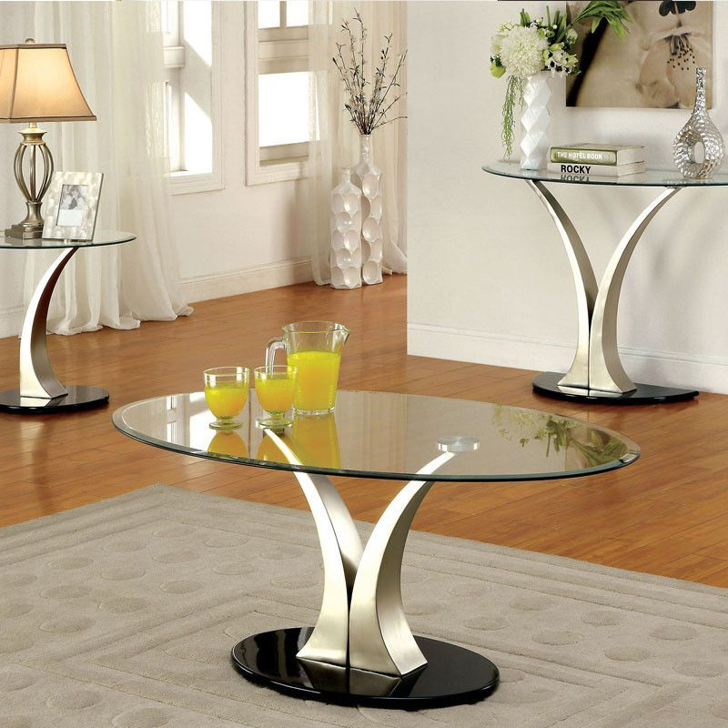Valo Chrome Finish Oval Glass Top Coffee Table Glass Top Coffee