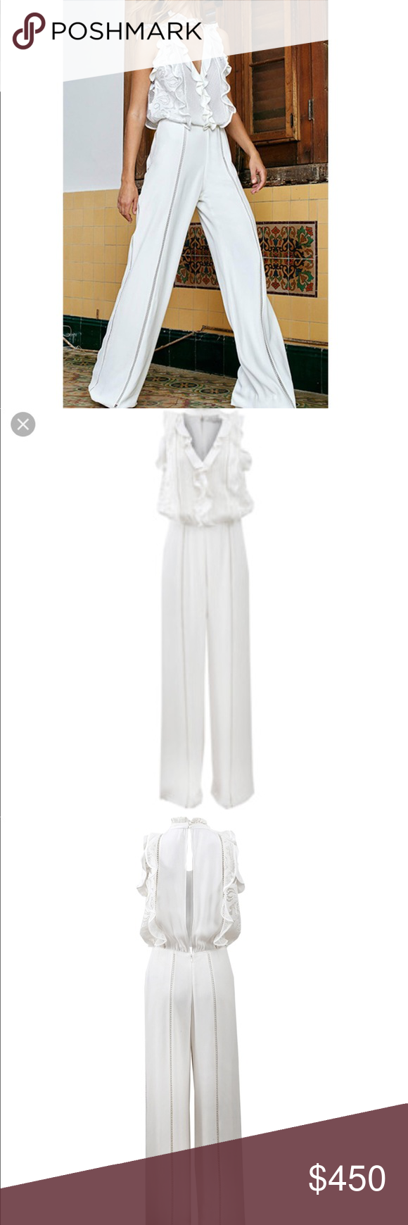 5d55783975e1 Alexis Rasika white jumpsuit Beautiful Alexis ruffle white jumpsuit size  medium! Sold out exclusive worn only once! Alexis Other