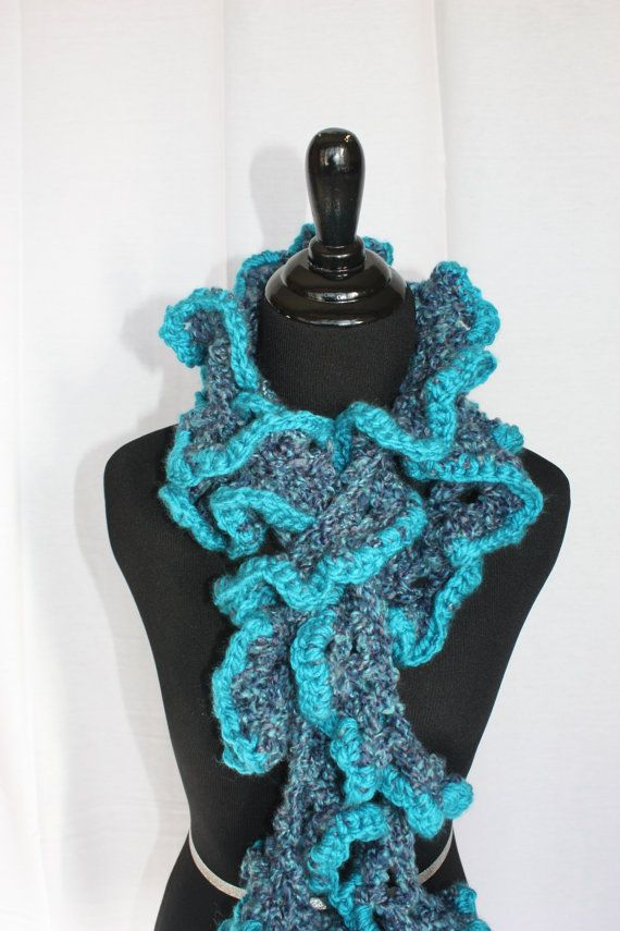 Ruffle Long Crotchet scarf oceans of blues by UniquePhillyGifts4U, $35.00