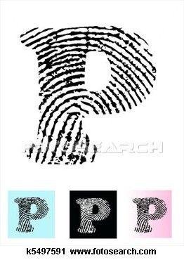 fingerprint alphabet letter p