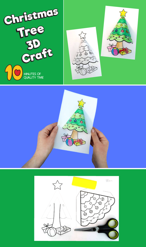 Weihnachtsbaum 3d Craft 10 Minutes Of Quality Time Craft Minutes Quality Time Weihnac Christmas Crafts Christmas Tree Crafts 3d Christmas Tree Card