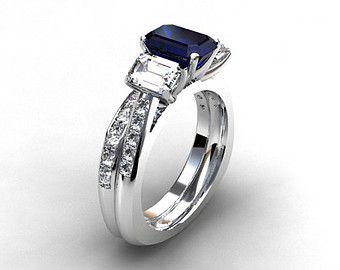 Engagement ring set blue sapphire engagement ring emerald cut