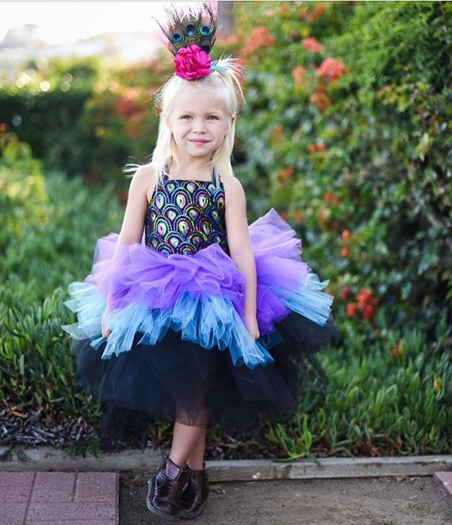 Peacock dress and crown! Fall Costume Collection! Listing these online today! Gorgeous Photo by @robinmariec #rufflesandtutus #halloween #costume #princess #kidsfashion #couture #custom #handmade #shopsmall #peacock