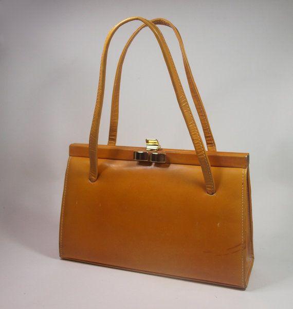 Vintage Tan Leather Handbag By Ackery London Norahsbazaar