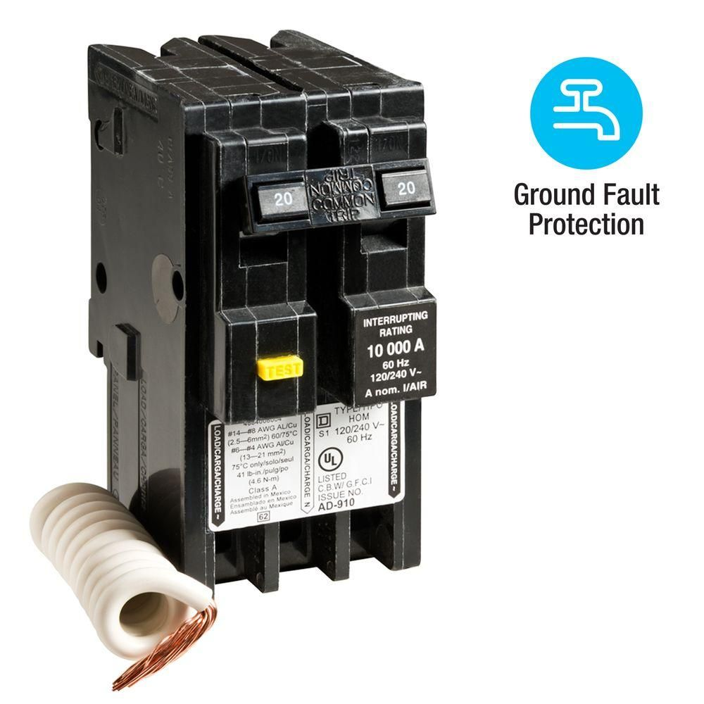 Square D Homeline 20 Amp 2 Pole Gfci Circuit Breaker Hom220gfi The Home Depot Gfci Electrical Switches Circuit