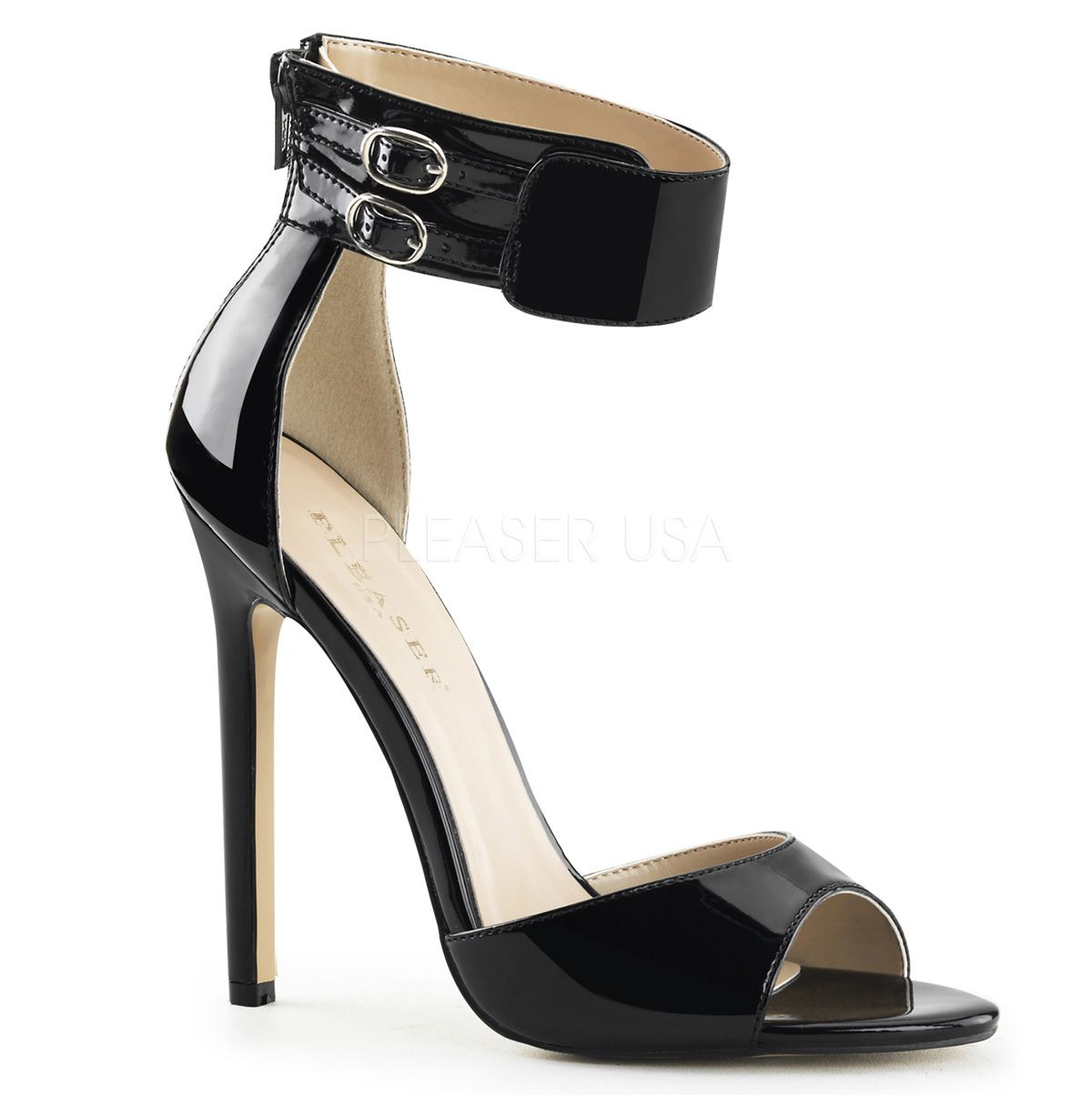 Pleaser Shoes Sexy-19 Black Patent Wide Ankle Strap Sandals With Stiletto Heels
