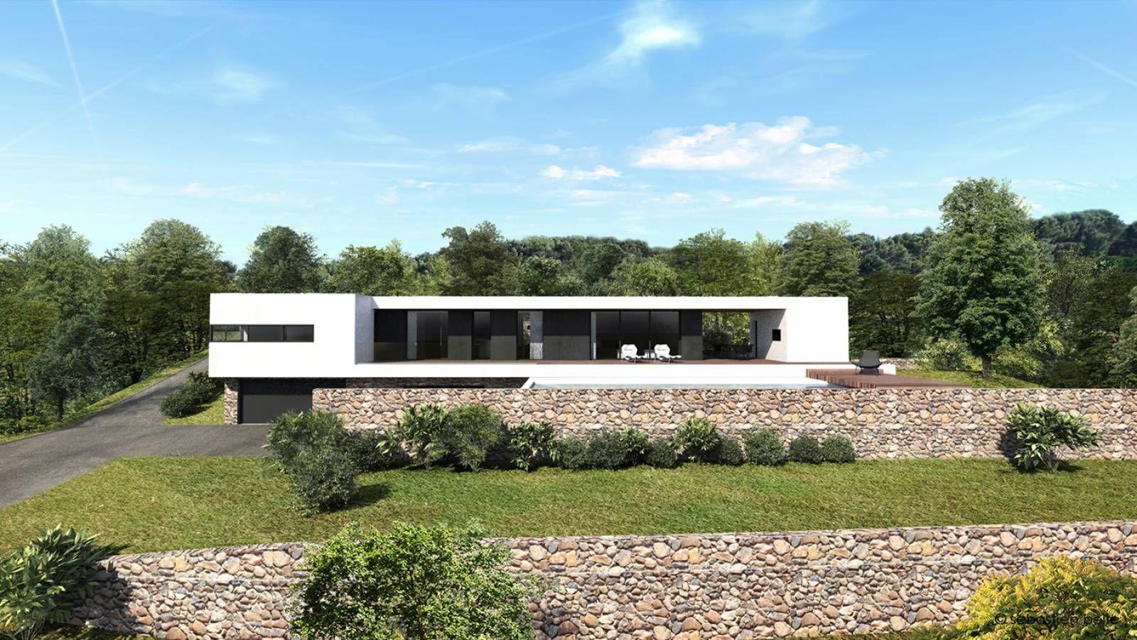 maison à l\'architecture contemporaine en béton, bois et pierre en ...
