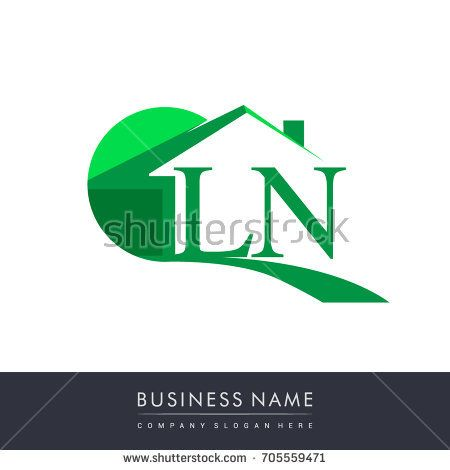 Ln Letter Roof Shape Logo Green Initial Logo Ab With House Icon Business Logo And Property Developer Initials Logo Roof Shapes Graphic Design Logo