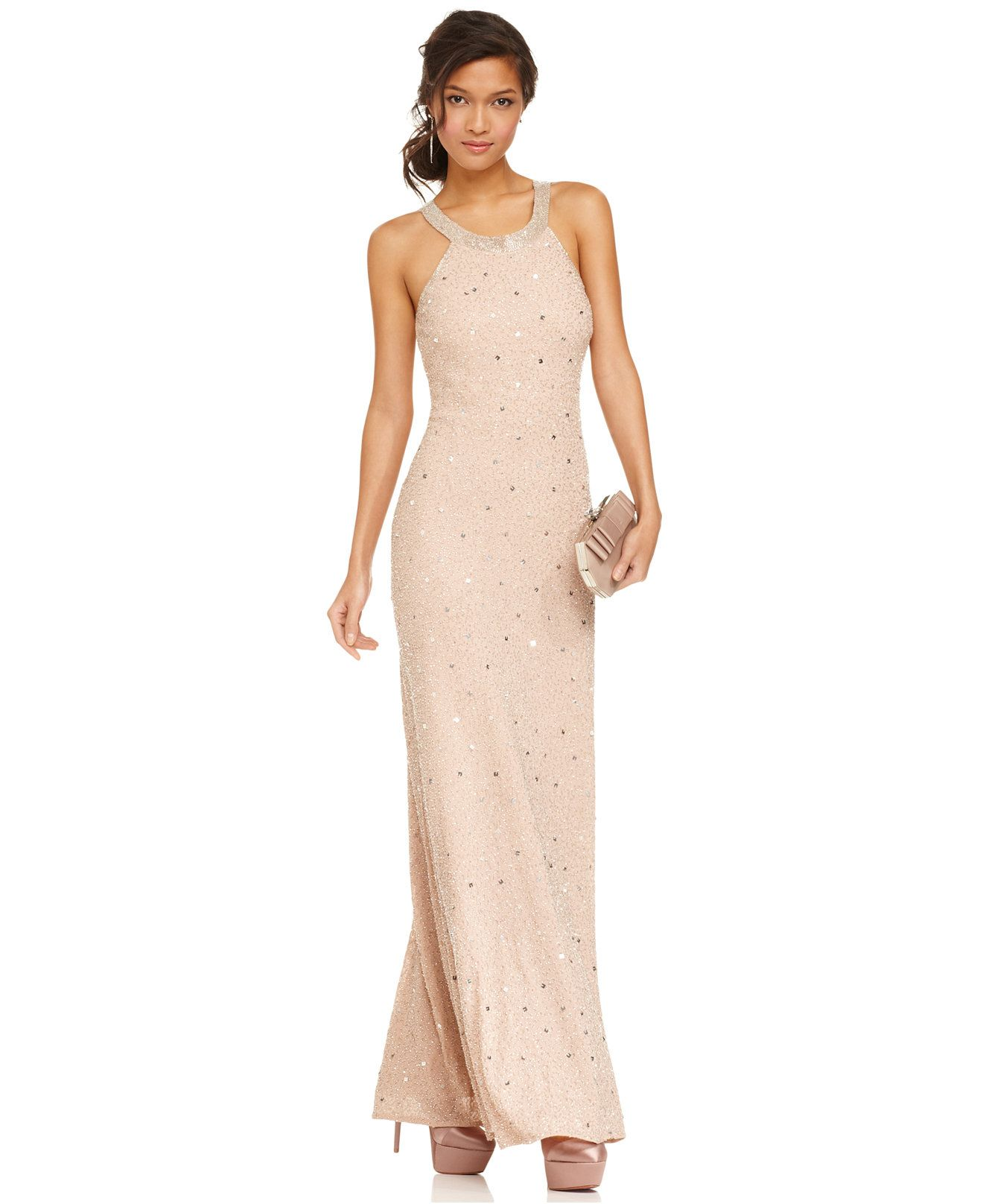 Adrianna Papell Petite Beaded Illusion-Back Halter Gown - Dresses ...