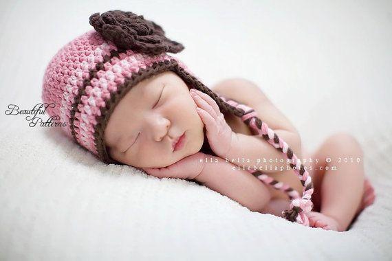 Crochet Hat Pattern Baby Crochet Hat Earflap Beanie with | gorros y ...