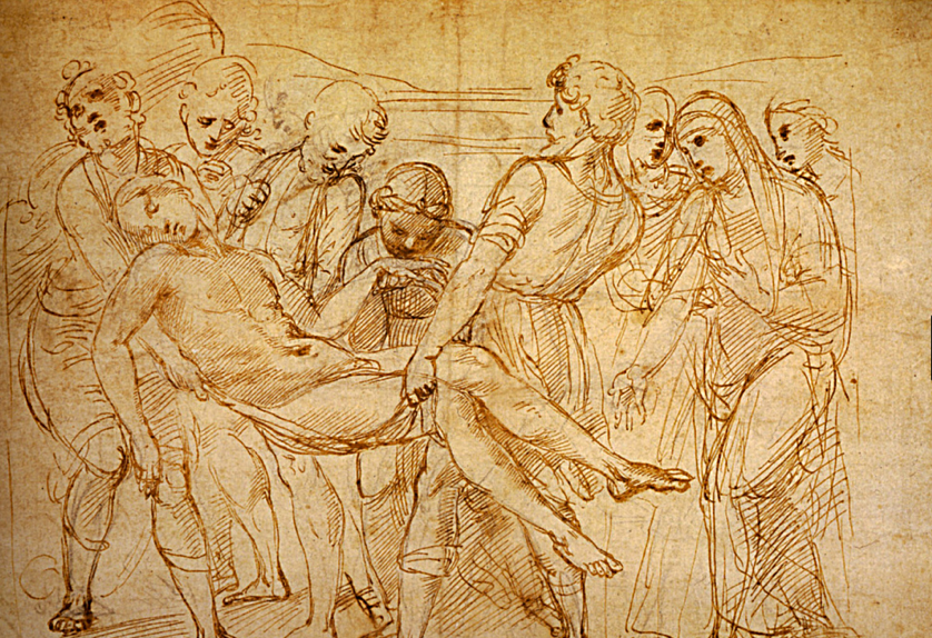 Raphael Santi Sanzio 1483 1520 Dessin Etude Sur La Deposition Du