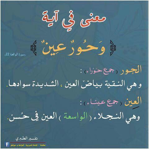 معنى في آية وحور عين Learn Arabic Language Learning Arabic Beautiful Arabic Words