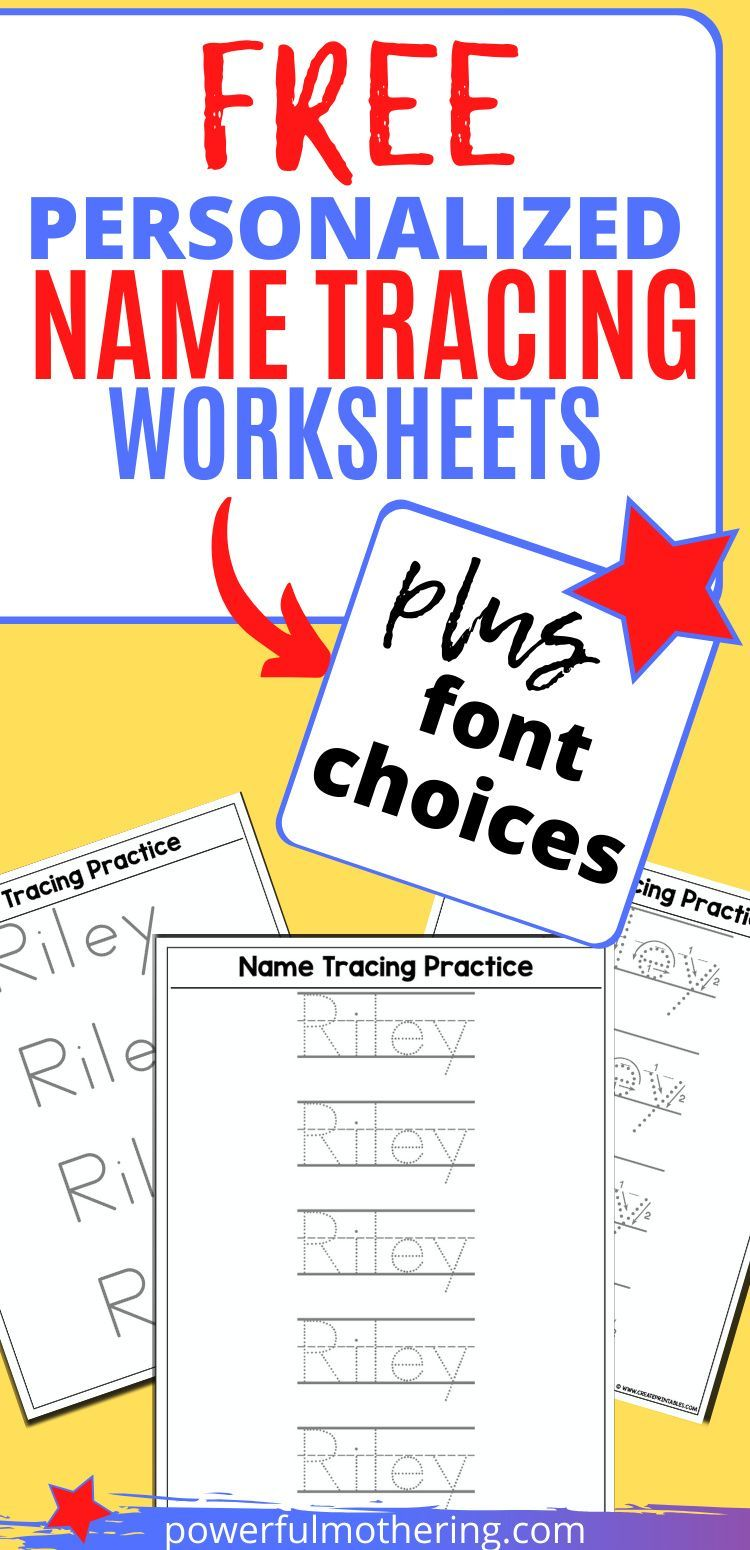Free name tracing worksheet printable font choices in