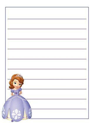 Journal Card - Sofia the First - lines - 3x4 photo - lines paper