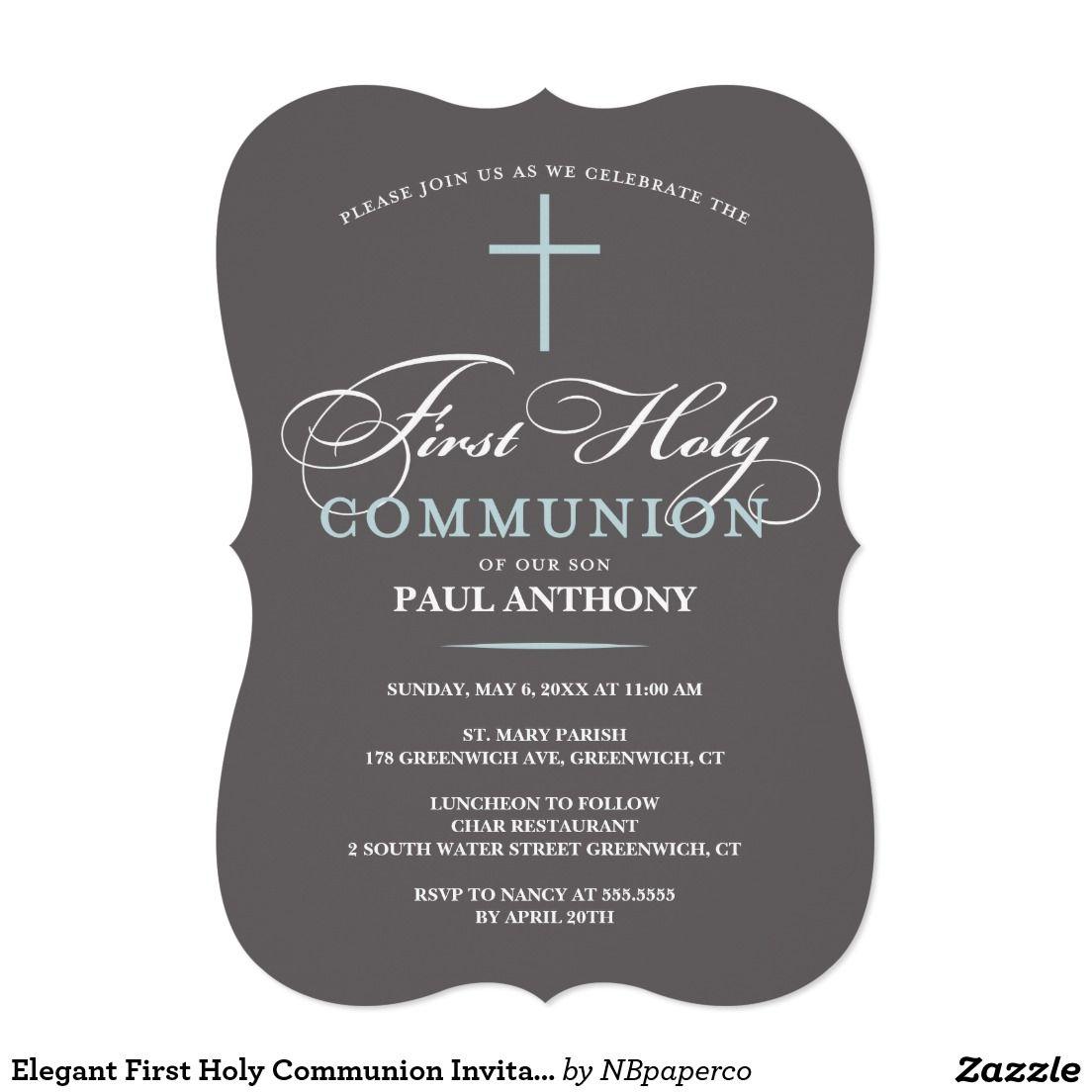 Elegant first holy communion invitation blue stopboris Images