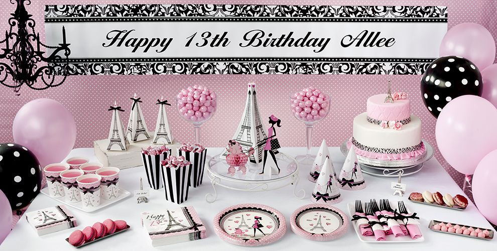Pink Paris 13th Birthday Party Supplies Party City Paris Rose 3