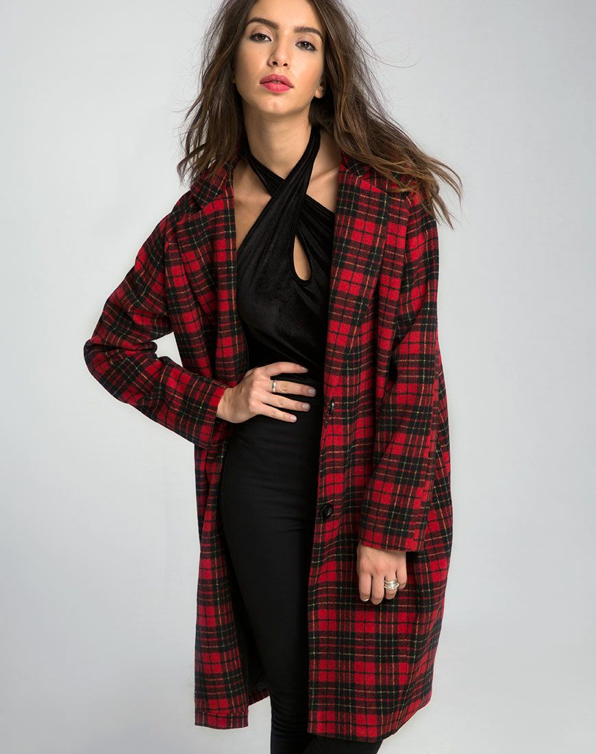 Ernest Coat in Wool Check Red and Black by Motel | Motel Rocks ...