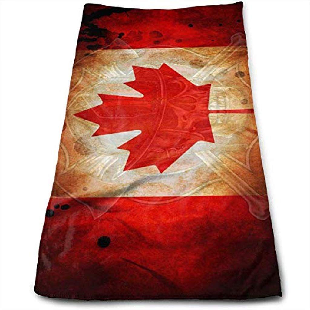 Hipiyoled Feuerwehr Schadel Kanada Flagge Mikrofaser Mehrzweck Handtuch Badetucher Handtucher Waschlappen Handtucher Badezimmer 12x 275 Decor Rugs Home Decor