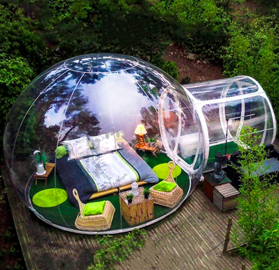 Transparent bubble tent puts campers