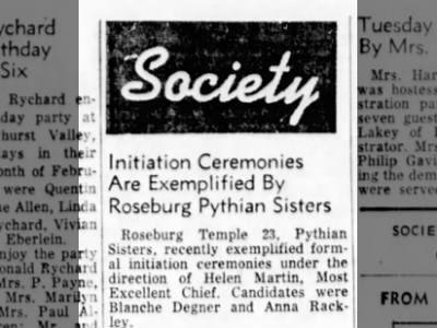 Anna Bursik Rackley Pythian sisters | Oregon Family