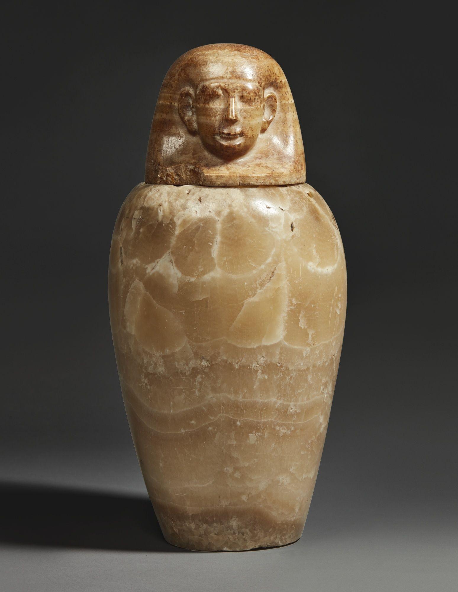 Sothebyan Egyptian Alabaster Canopic Jar 26th Dynasty 664 525