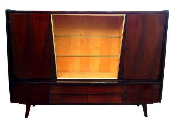 Modern Dark Wood Credenza : Mid century modern 1950s german credenza and