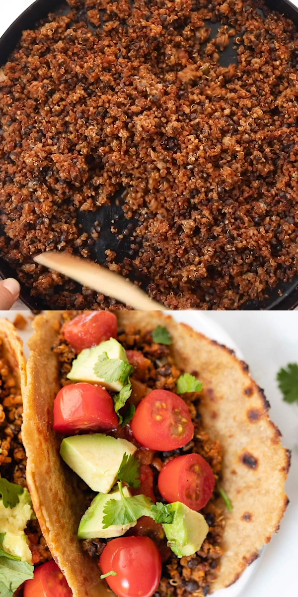 This Quinoa Lentil Taco Meat is a delicious and healthy vegan/vegetarian alternative to ground beef! Easy to make and loaded with delicious Mexican flavors. Trust me this homemade recipe is AMAZING and perfect to use in tacos, enchiladas or burritos!