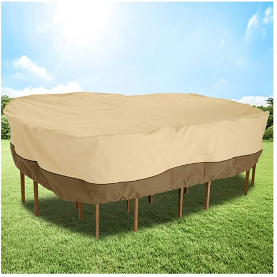 Aglzwy Patio Furniture Cover Tarpaulin Rainproof Snow Dust Protection Table And Chairs Khaki Brown Patio Furniture Covers Patio Furniture Furniture