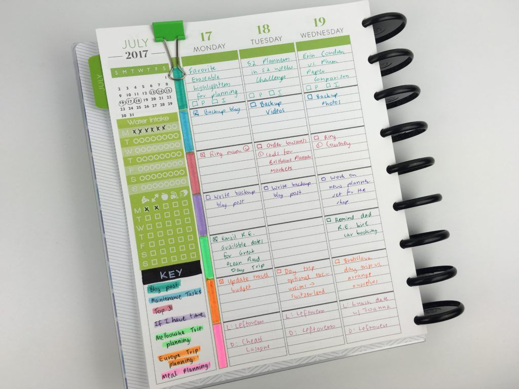 Weekly planning using the Plum Paper Me Planner (52