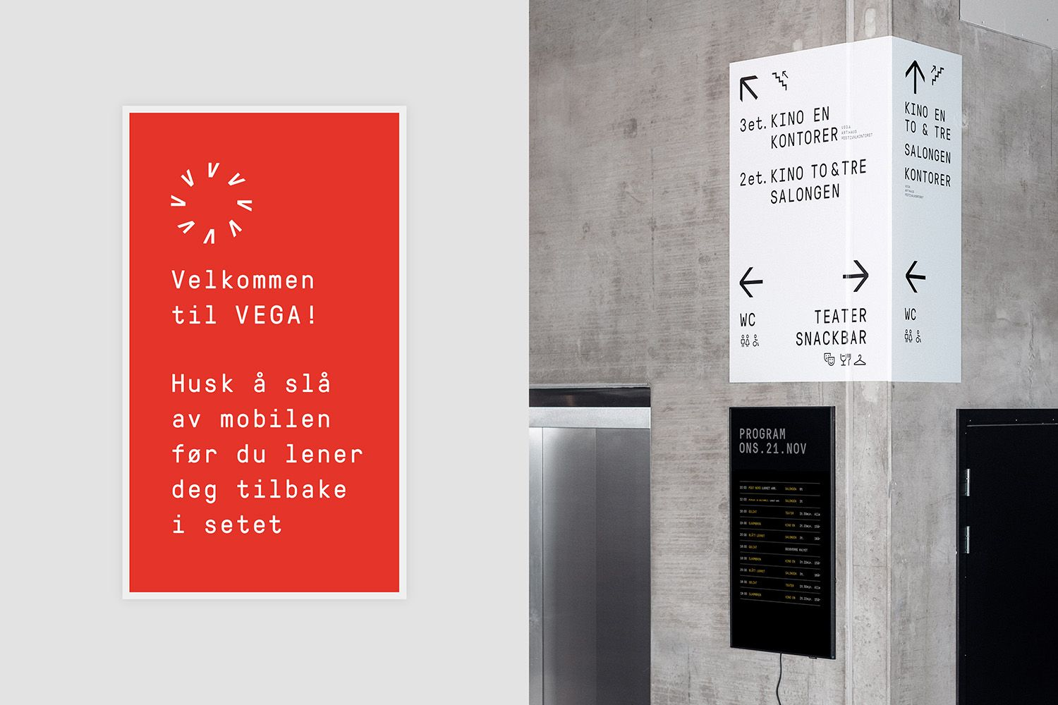 New Graphic Identity For Vega Scene By Metric Bp O Signage Design Wayfinding Design Font Design Logo