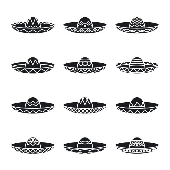 Vector set of mexican sombrero hat by Microvector on Creative Market ... ec28a913d5e