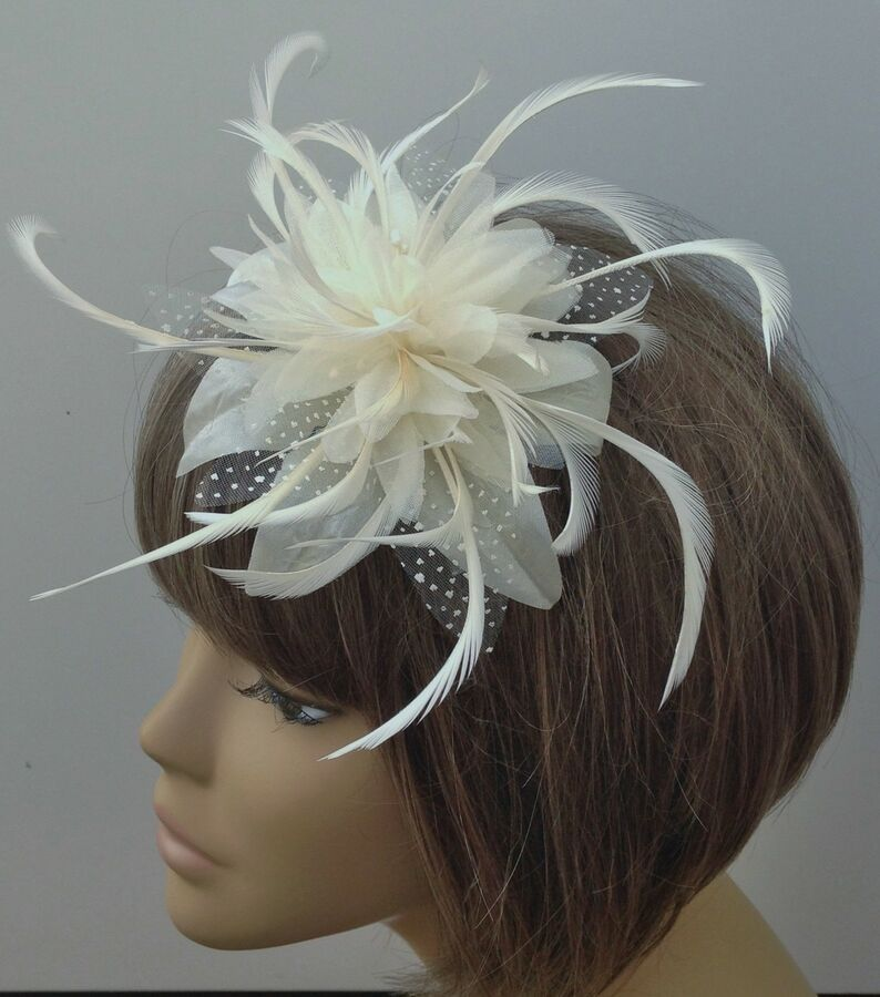 Burgundy and cream Hair Fascinator on comb Wedding Royal Ascot Races