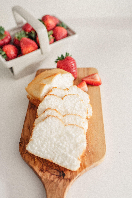 angel food cake  fresh strawberries  food angel food
