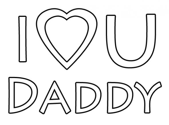 I Love You Daddy Coloring Page.