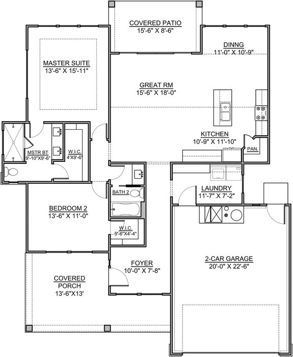 Small One Story 2 Bedroom Retirement House Plans In 2020 Craftsman Style House Plans House Plans Retirement House Plans