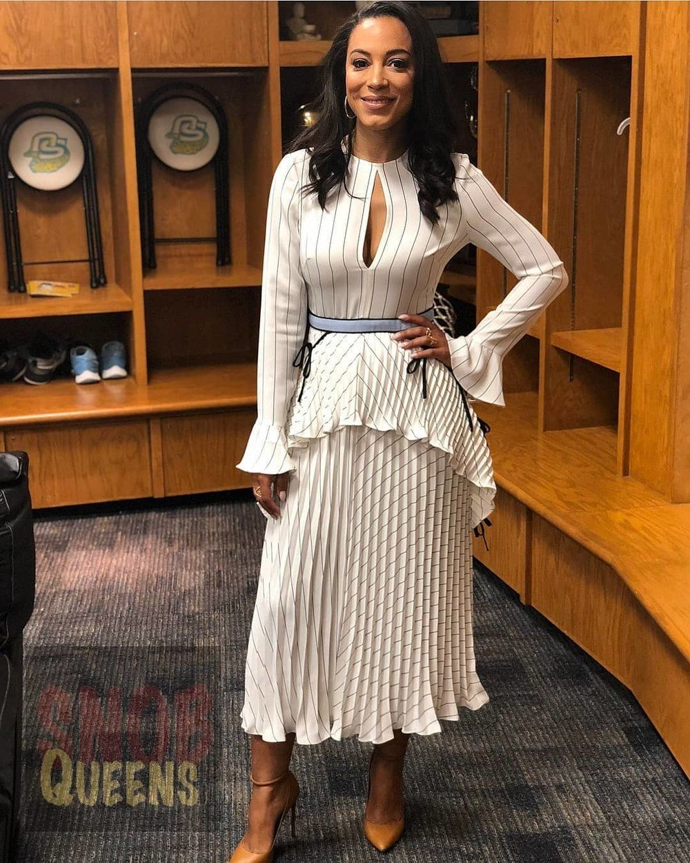46d1750230956 Angela Rye Self Portrait Monochrome Stripe Dress #angelarye #selfportrait  #snobqueens #fashion #style