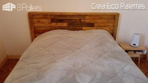 Letto Di Pallets : Framed pallet headboard tête de lit pallet letto