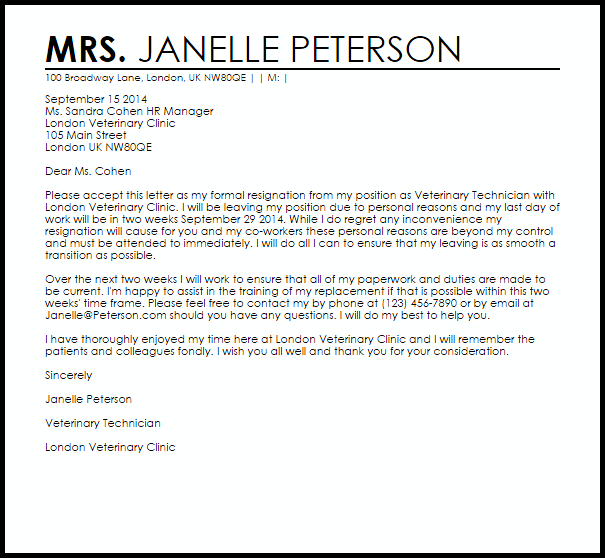 Resignation Letter Templates Free | template
