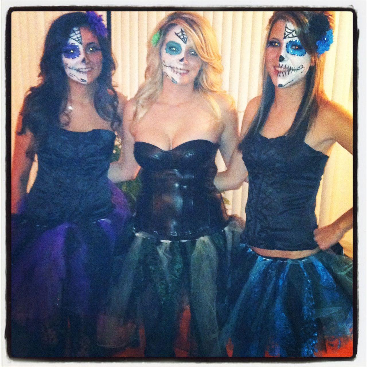 6eae51c6951 Sugar skull costumes w/ homemade tutus | Halloween ideas | Halloween ...