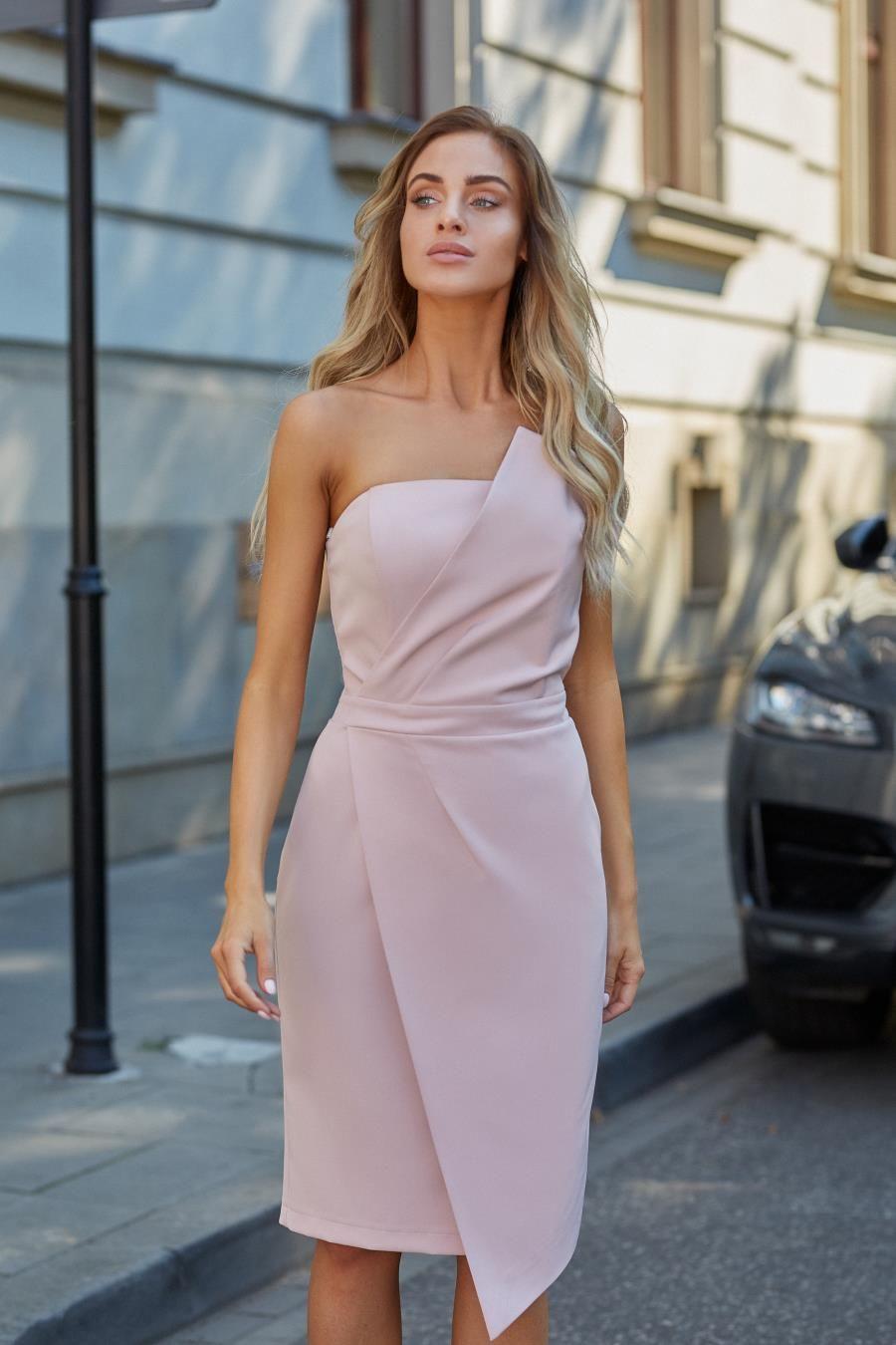 55e73c2fd4 Asymetryczna Sukienka Gorsetowa Pudrowa MO409 w 2019
